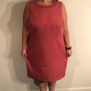 Loft Plus Salmon Colored Laser Cut Top Dress